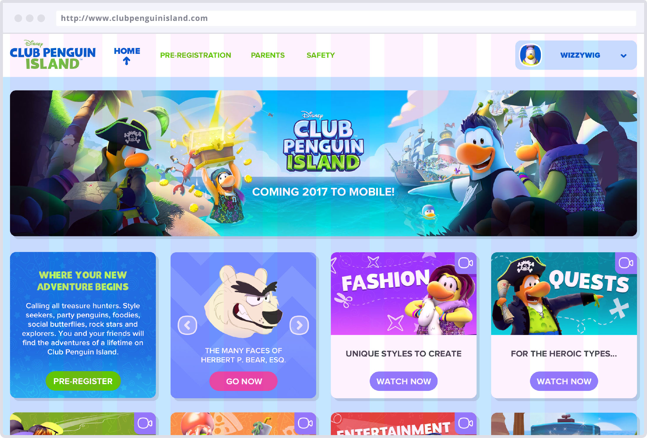 Image of Club Penguin Island homepage with overlay layout grid.